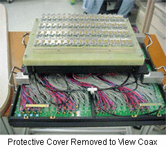 Interface with Protective Cover Removed to Reveal Coax Cabling